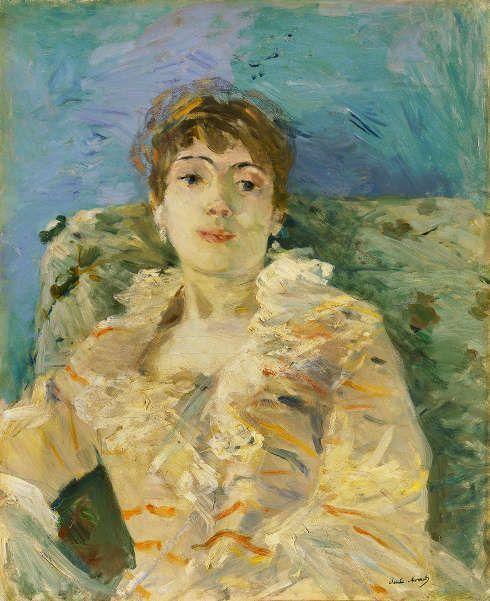 Berthe Morisot, Junge Frau auf dem Sofa [Jeune Femme au Divan], 1885, Öl/Lw, 61 x 50.2 cm (Tate, London; Bequeathed by the Hon. Mrs A.E. Pleydell-Bouverie through the Friends of the Tate Gallery 1968, Photo ©Tate)