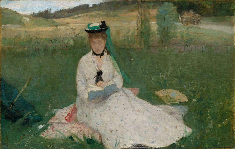 Berthe Morisot, Lesen, 1873, Öl/Lw, 46 x 71,8 cm (Cleveland Museum of Art, Hanna Fund, 1950.89)