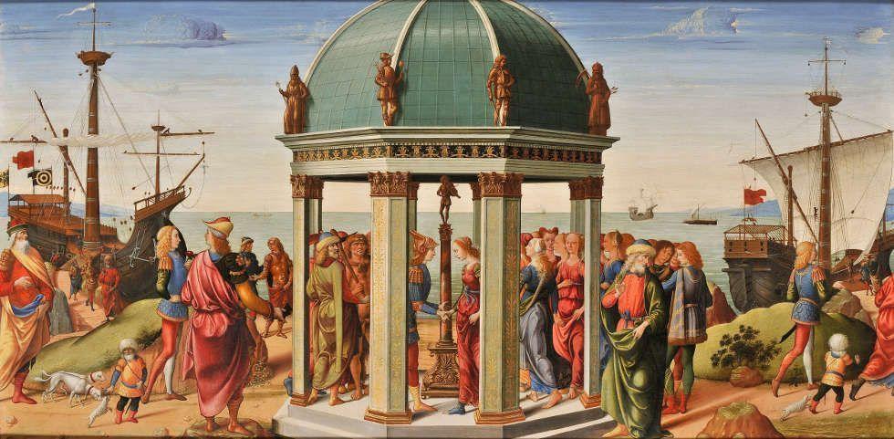 Biagio d'Antonio, Verlobung von Jason und Medea, 1487, Holz, 79 x 160 cm (Paris, Musée des Arts décoratifs © Paris, Musée Arts Décoratifs, musée des Arts décoratifs)