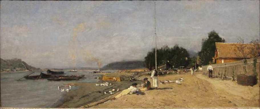 Tina Blau, An der Donau bei Szobb, 1874, Öl auf Holz, 34,5 × 78,5 cm (Privatbesitz, Foto: Alexandra Matzner)
