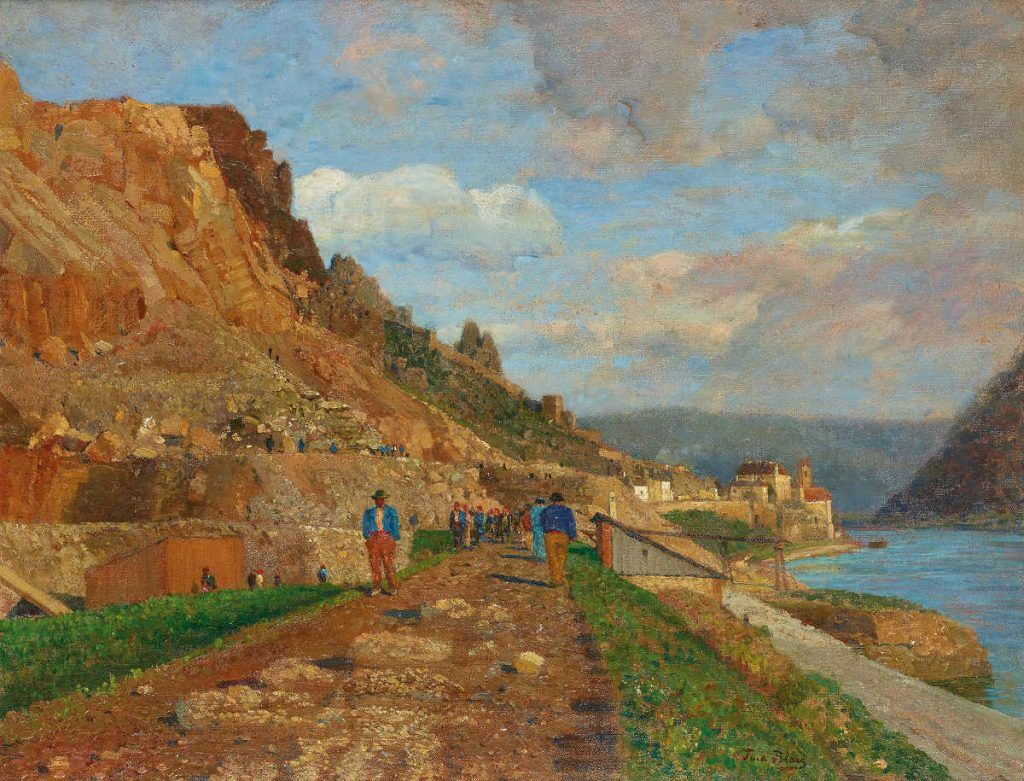 Tina Blau, Bahnbau bei Dürnstein, 1909, Öl auf Leinwand, 56 x 72 cm (© Privatbesitz)