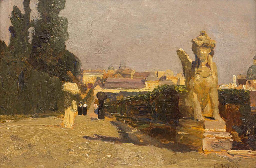 Tina Blau, Belvedere, 1895, Öl auf Holz, 17,6 x 26,8 cm (Privatbesitz)