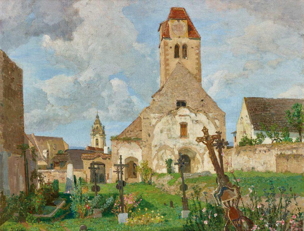 Tina Blau, Blick auf die alte Pfarrkirche von Dürnstein, 1897/98, Öl auf Leinwand, 58 x 72 cm (© Privatbesitz, Courtesy Auktionshaus im Kinsky, Wien)
