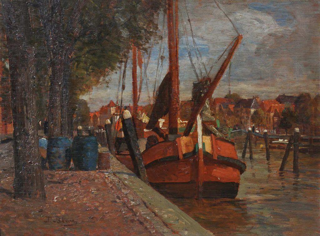 Tina Blau, Dordrecht (Rotes Schiff), 1907, Öl auf Holz, 28 x 38 cm (Privatbesitz, Wien)