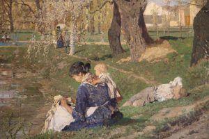 Tina Blau, Frühling im Prater, 1882, Detail Arbeiterfamilie, Öl auf Leinwand 214 x 291 cm (Belvedere, Wien)