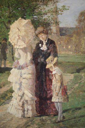 Tina Blau, Frühling im Prater, 1882, Detail bürgerliche Damen, Öl auf Leinwand 214 x 291 cm (Belvedere, Wien)