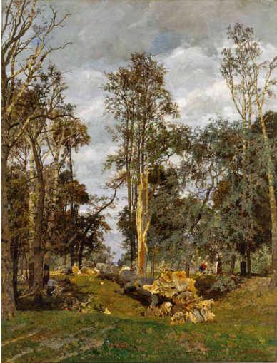 Tina Blau, Gestürzte Größe, um 1882/89, Öl auf Leinwand, 91 × 70 cm (Privatbesitz, Wien, Foto: Alexandra Matzner)