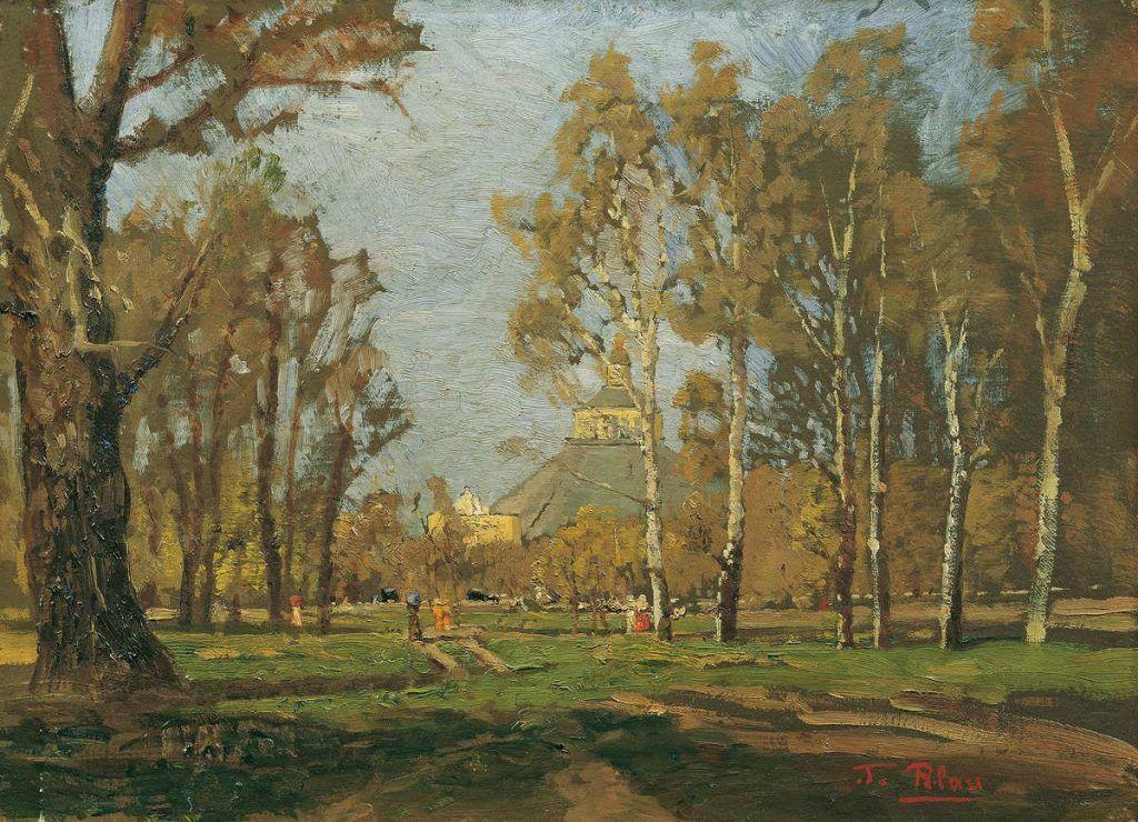 Tina Blau, Im Prater bei der Rotunde, um 1885, Öl auf Leinwand, 33 x 45 cm (© Belvedere, Wien)
