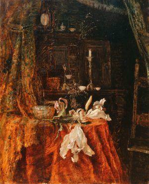Tina Blau, Interieur-Stillleben, um 1872, Öl auf Holz, 47,5 x 38 cm (Privatbesitz, Wien)