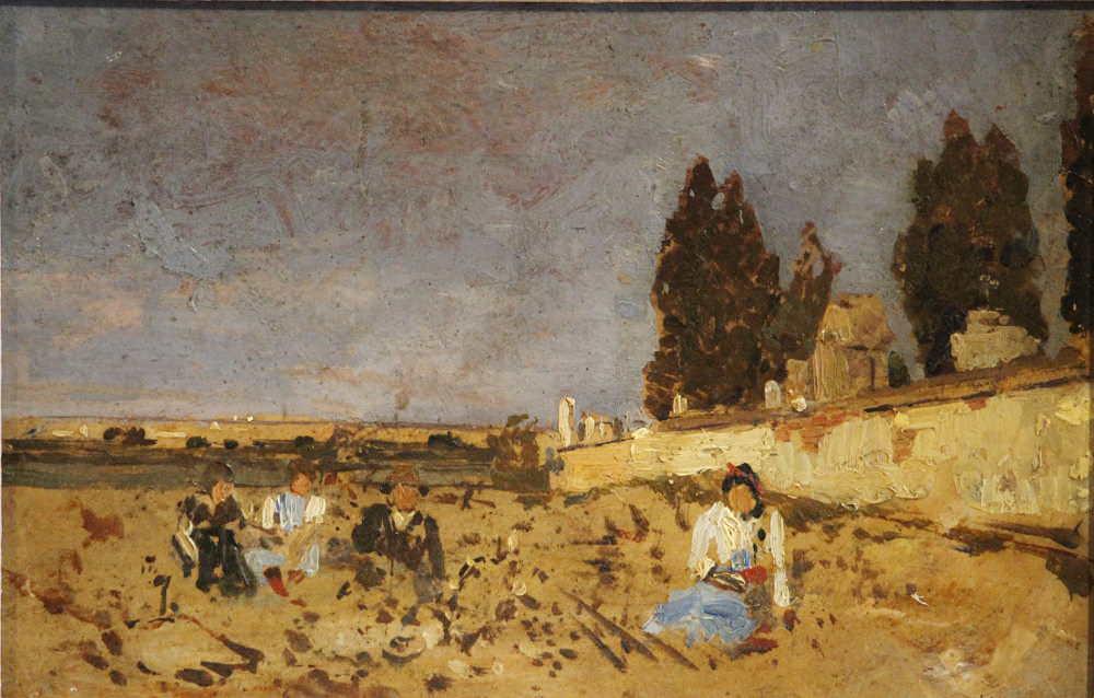 Tina Blau, Kinder an der Friedhofsmauer, um 1887/88, Öl auf Holz, 17 × 26 cm (Privatbesitz, Foto: Alexandra Matzner)