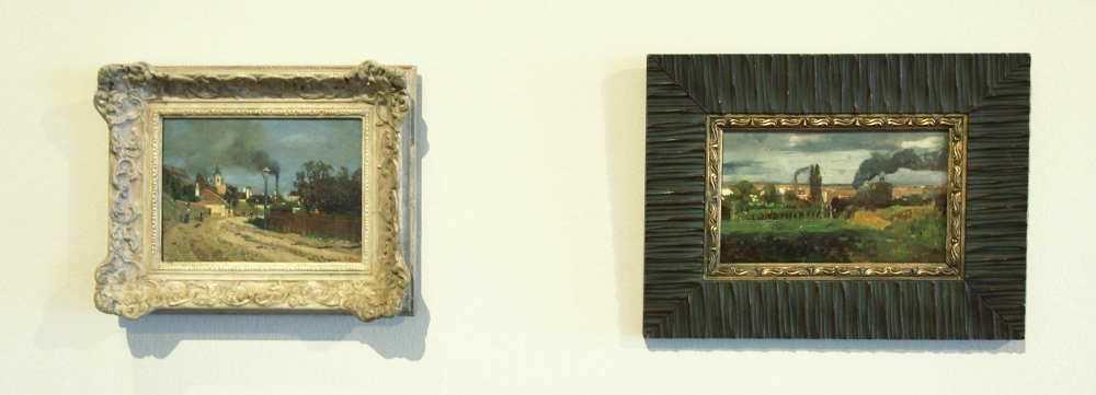 Tina Blau, Straßenansicht. Motiv aus Nußdorf, 1894, Öl auf Holz, 17,5 × 23 cm (Privatbesitz) + Grinzing an der Zahnradbahn, um 1894/98?, Öl auf Holz, 17 × 27 cm (Privatbesitz)