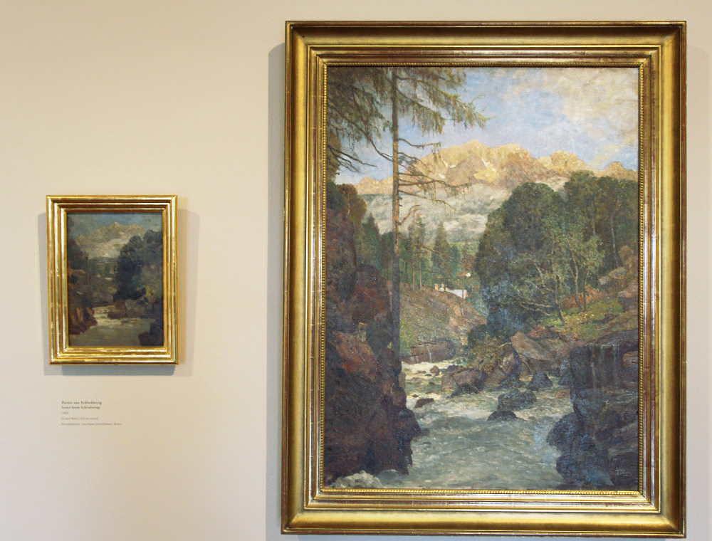 Tina Blau, Partie aus Schladming, 1902, Öl auf Holz, 33 × 23,5 cm (Privatbesitz) + Motiv aus Schladming mit dem Dachstein, 1902/07 Öl auf Leinwand, 100 × 74,5 cm (Privatbesitz)