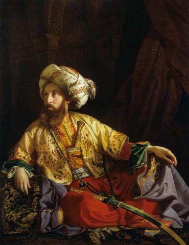 József Borsos, Der Emir vom Libanon (Porträt von Edmund Graf Zichy), 1843, Öl auf Leinwand 154 × 119 cm (© Szépművészeti Múzeum/ Museum of Fine Arts, Budapest, 2016, Foto: © Tibor Mester)