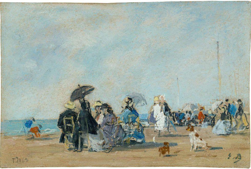 Eugène Boudin, Am Strand von Trouville, 1863, Pastell, 18,5 x 28,5 cm (Privatsammlung)