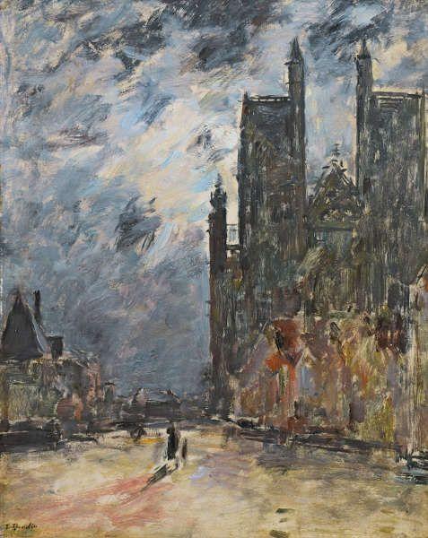 Eugène Boudin, Die Kollegiatskirche von Abbeville bei Nacht, um 1890–1894, Öl/Lw, 46 x 37,5 cm (Musée de Valence, Art et Archéologie, Valence, Foto: Eric Caillet)
