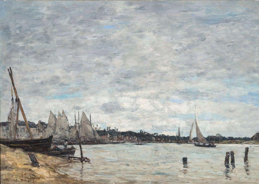 Eugène Boudin, Hafen von Trouville, 1865, Öl/Lw, 32,5 x 46,5 m (Museu Nacional de Belas Artes / Ibram / MinC, Rio de Janeiro, Foto: Acervo MNBA)