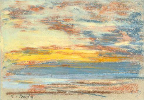 Eugène Boudin, Küste und Himmel, um 1865, Pastell, 15,8 x 23,1 cm (Privatsammlung)
