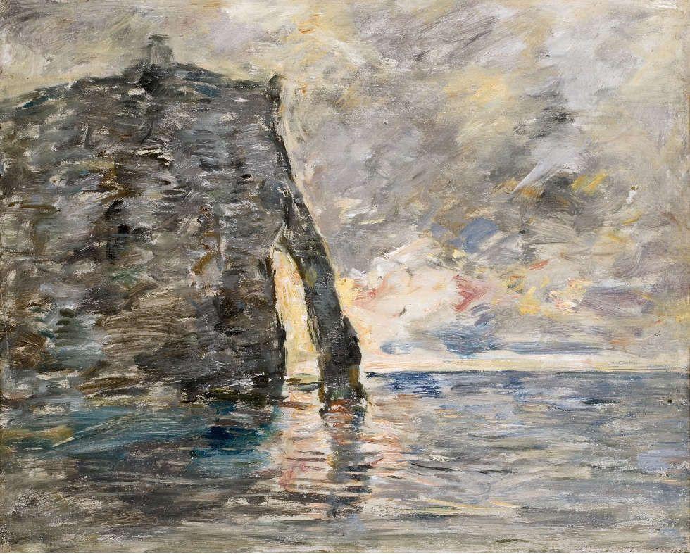 Eugène Boudin, Klippen bei Étretat, um 1890/91, Öl/Lw, 37,5 x 46,2 cm (Musée d'art Moderne André Malraux, Le Havre, © MuMa Le Havre, Florian Kleinefenn)