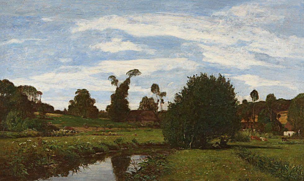 Eugène Boudin, Normannische Landschaft, um 1857/58, Öl/Lw, 34 x 57,5 cm (Marunuma Art Park, Asaka, Japan, Foto: detto)