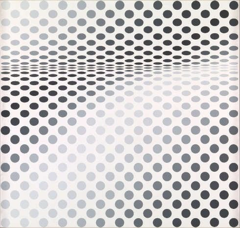 Bridget Riley, Hesitate, 1964, Dispersion auf Hartfaserplatte, 107 × 113 cm (Tate, London, presented by the Friends of the Tate Gallery 1985)