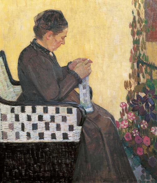 Broncia Koller-Pinell, Die Mutter der Künstlerin, 1907, Öl auf Leinwand , 91 × 77,5 cm (Eigentum der Artothek des Bundes, Dauerleihgabe im Belvedere, Wien)