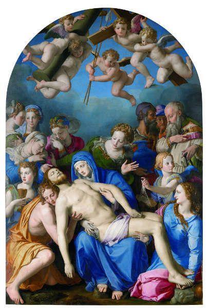 Bronzino (Agnolo di Cosimo; Florenz 1503-1572), Beweinung, um 1543–1545, ÖlHolz, 268 x 173 cm (Besançon, Musée des Beaux-Arts et d'Archéologie, Inv. D.799.1.29)