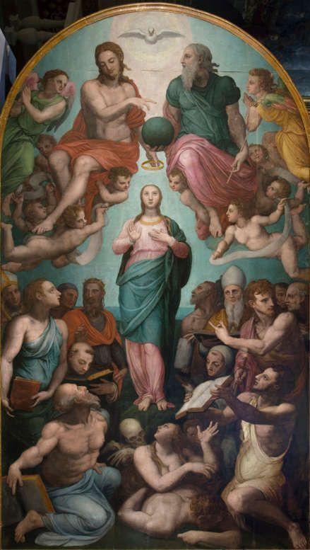 Bronzino (Agnolo di Cosimo; Florenz 1503-1572) und Werkstatt, Immacolata [Unbefleckte Empfängnis], 1570–1572, Öl/Holz, 502 x 291 cm (Florenz, Chiesa di Santa Maria Regina della Pace, Inv.. Depositi