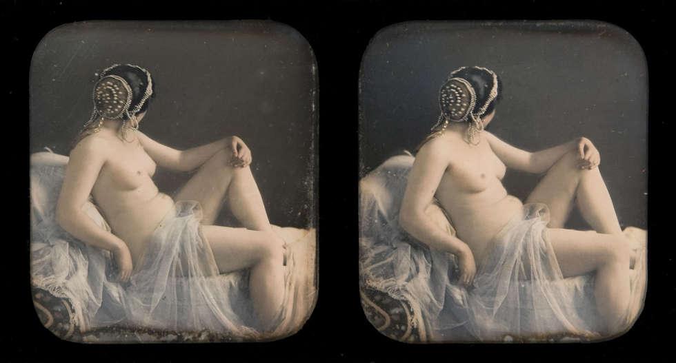 Bruno Braquhais, Odaliske, um 1855, kolorierte Stereo-Daguerreotypie (Private Sammlung © Collection H. G.)