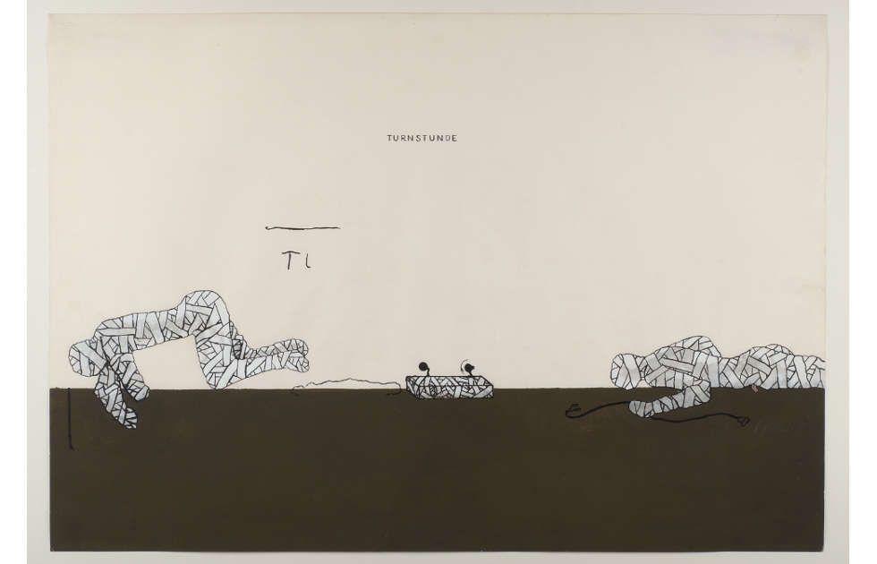 Bruno Gironcoli, Entwurf II (Turnstunde), 1967–1970, Tusche, Deckfarben auf Papier, 62 x 89 cm (mumok Museum moderner Kunst Stiftung Ludwig Wien, Leihgabe der Artothek des Bundes seit 1976, © BRUNO GIRONCOLI WERK VERWALTUNG GMBH / GESCHÄFTSFÜHRERIN CHRISTINE GIRONCOLI)