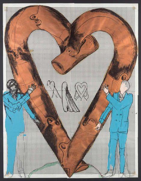 Bruno Gironcoli, Herz, 1967–1970, Tusche, Tempera auf Papier, 72 x 55 cm (mumok Museum moderner Kunst Stiftung Ludwig Wien, erworben 1970, © BRUNO GIRONCOLI WERK VERWALTUNG GMBH / GESCHÄFTSFÜHRERIN CHRISTINE GIRONCOLI)