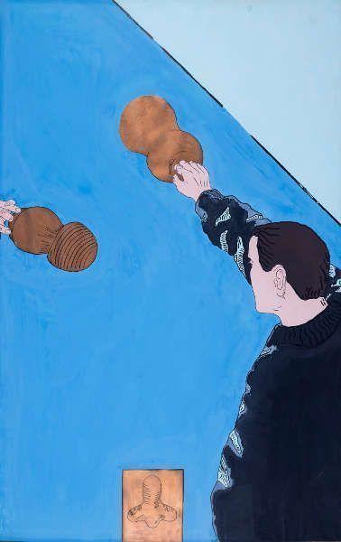Bruno Gironcoli, Ohne Titel, 1964, Metallpulverfarbe, Tusche und Gouache auf Papier, 121,5 x 76,5 cm (Privatsammlung, Wien, © BRUNO GIRONCOLI WERK VERWALTUNG GMBH / GESCHÄFTSFÜHRERIN CHRISTINE GIRONCOLI)