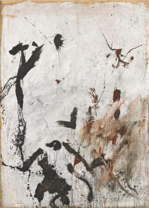 Günter Brus, Aktionsmalerei O.T., 1960, Dispersion auf weiß grundiertem Packpapier, 243 x 175 cm (Foto: Mischa Nawrata, Wien © Albertina, Wien: Sammlung Essl)