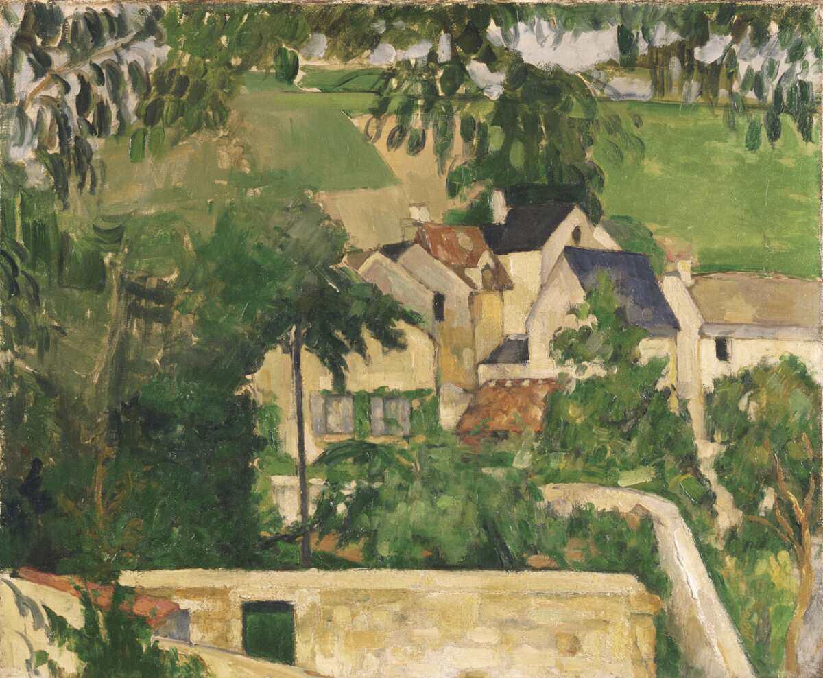 Paul Cézanne, Étude: Paysage à Auvers [Studie: Landschaft in Auvers], um 1873, Öl auf Leinwand, 46.4 x 55.2 cm (vielleicht Philadelphia Museum of Art, The Samuel S. White 3rd and Vera White Collection, 1967)