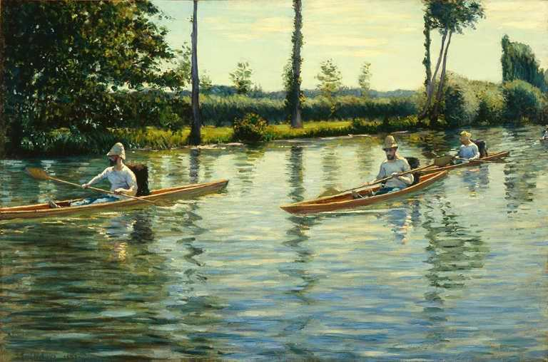 Gustave Caillebotte, Périssoires sur l'Yerres [Kanuten auf der Yerres], 1877, Öl auf Leinwand, 103.51 × 155.89 cm (Milwaukee Art Center, Gift of the Milwaukee Journal Company, in honor of Miss Faye McBeath M1965.25, Photo credit: John R. Glembin)