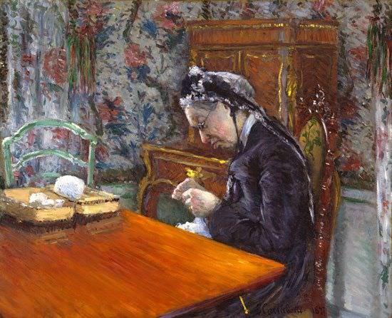 Gustave Caillebotte, Portrait de Mme B. [Mademoiselle Boissière strickt], 1877, Öl auf Leinwand, 65.1 × 80 cm (Museum of Fine Arts, Houston, Gift of Audrey Jones Beck)