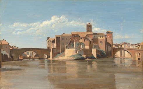 Camille Corot, Insel und Brücke von San Bartolomeo, Rom, 1825/28, Öl/Papier/Lw, 27 x 43.2 cm (National Gallery of Art, Washington, Patrons' Permanent Fund)