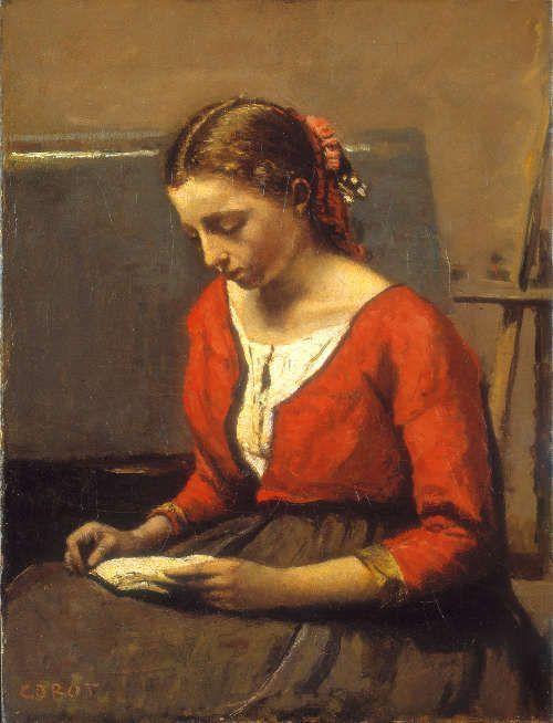 Camille Corot, Lesendes Mädchen, um 1845/1850, Öl auf Leinwand, 42,5 x 32,5 cm (Stiftung Sammlung E. G. Bührle, Zürich)