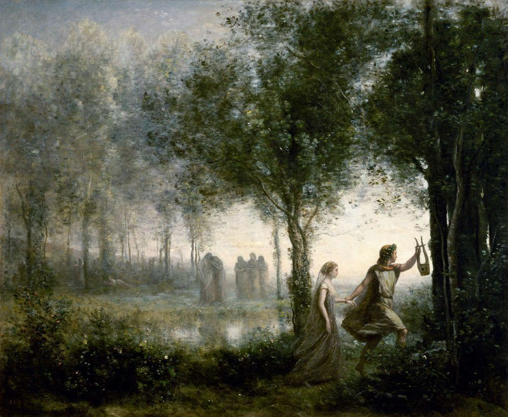 Camille Corot, Orpheus und Eurydice [Orphée ramenant Eurydice des enfers], 1861, Öl/Lw, 112,7 x 137,2 x 1,9 cm (The Museum of Fine Arts, Houston, Museum purchase funded by the Agnes Cullen Arnold Endowment Fund)