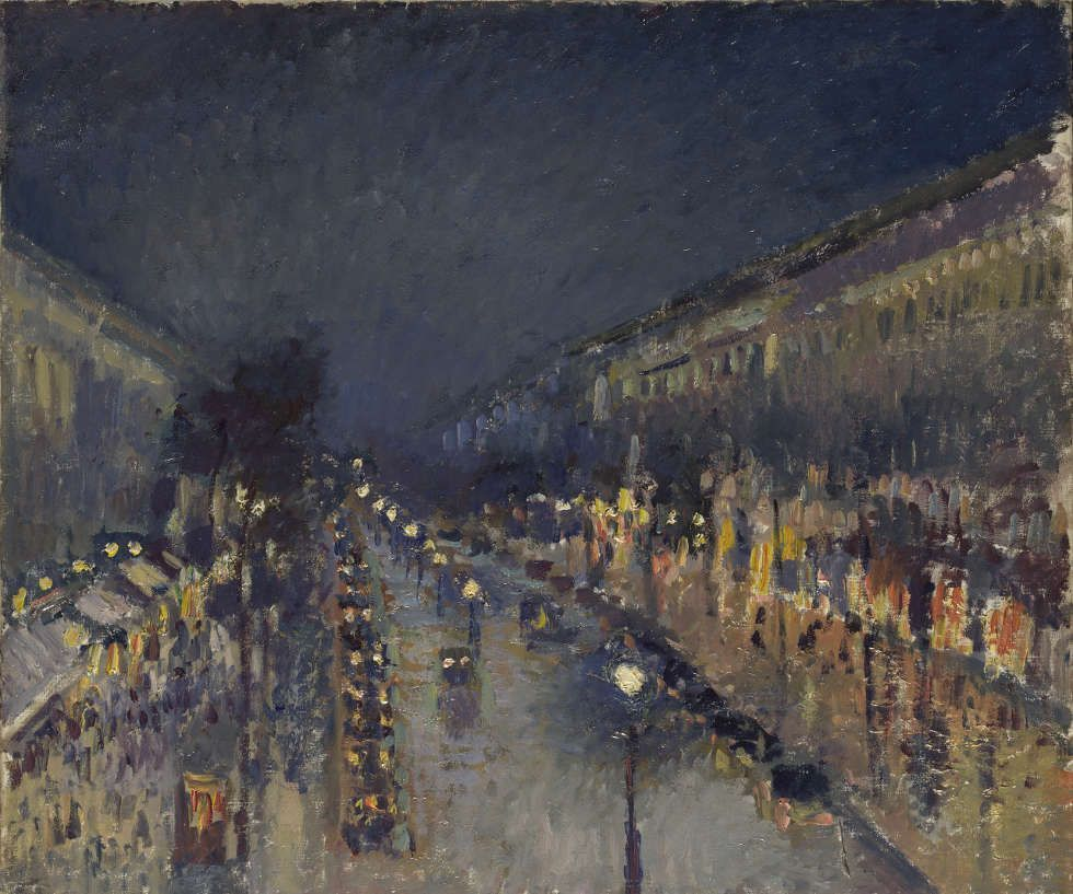 Camille Pissarro, Der Boulevard Montmartre bei Nacht, 1897, Öl/Lw, 53.3 x 64.8 cm (Bought, Courtauld Fund, 1925 © The National Gallery, London)