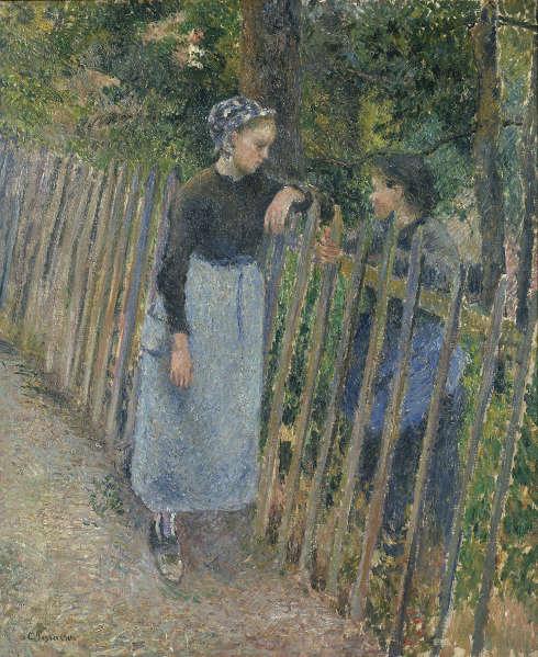 Camille Pissarro, La conversation [Die Unterhaltung], um 1881, Öl auf Leinwand, 65,3 x 54 cm (The National Museum of Western Art, Tokyo. Masukata Collection)