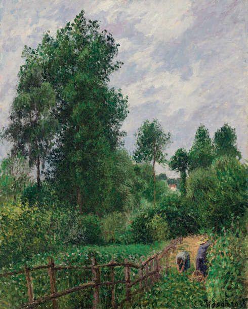 Camille Pissarro, Landschaft mit Pappeln, graues Wetter, Eragny, 1899 (Privatsammlung)