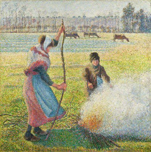 Camille Pissarro, Raureif, eine junge Bäuerin macht Feuer, 1888, Öl/Lw, 92,8 x 92,5 cm (Hasso Plattner Foundation)