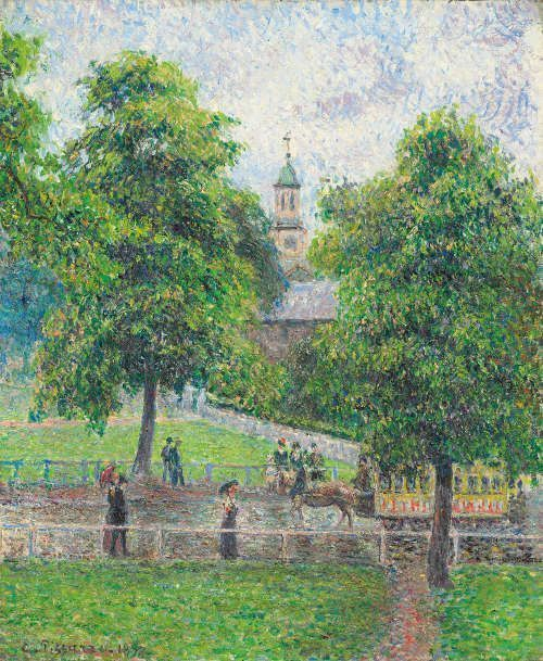 Camille Pissarro, Saint Anne's Church in Kew, London, 1892, Öl/Lw, 54,8 x 46 cm (Privatsammlung)