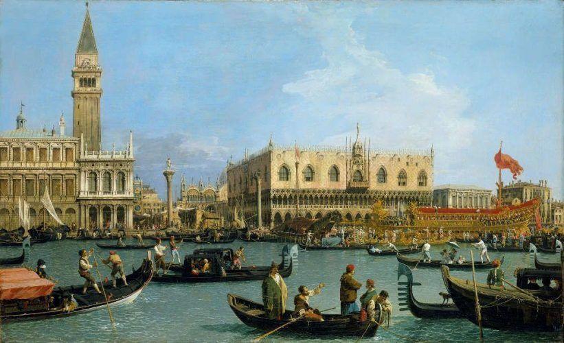 Canaletto, Venedig: Der Bacino di S. Marco zu Christi Himmelfahrt, um 1733/34, Öl/Lw, 76,8 x 125,4 cm (Royal Collection Trust/© Her Majesty Queen Elizabeth II 2016)