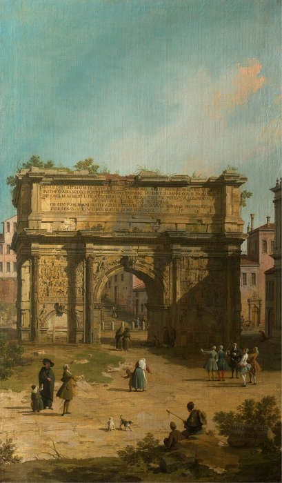 Canaletto, Der Septimus Severus-Bogen, 1742, aus einer Serie von fünf Rom-Ansichten (Royal Collection Trust/© Her Majesty Queen Elizabeth II 2017)
