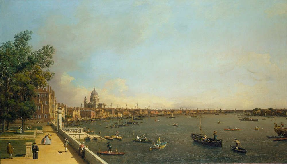 Canaletto, Die Themse von der Terrasse des Somerset House in Richtung Stadt, um 1750/51, Öl/Lw (Royal Collection Trust/© Her Majesty Queen Elizabeth II 2016)