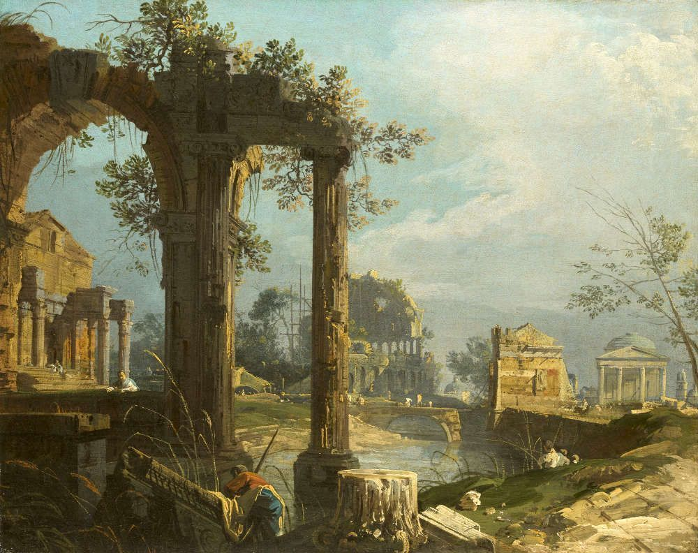 Canaletto, Eine Capriccio Ansicht mit Ruinen, um 1742/44, Öl/Lw, 52,7 x 65,9 cm (Royal Collection Trust/© Her Majesty Queen Elizabeth II 2016)