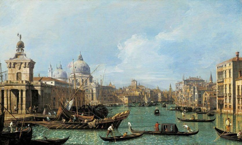 Canaletto, Mündung des Canal Grande nach Westen, in Richtung der Carita, um 1729/30, aus einer Serie von zwölf Ansichten des Canal Grande (Royal Collection Trust/© Her Majesty Queen Elizabeth II 2017)