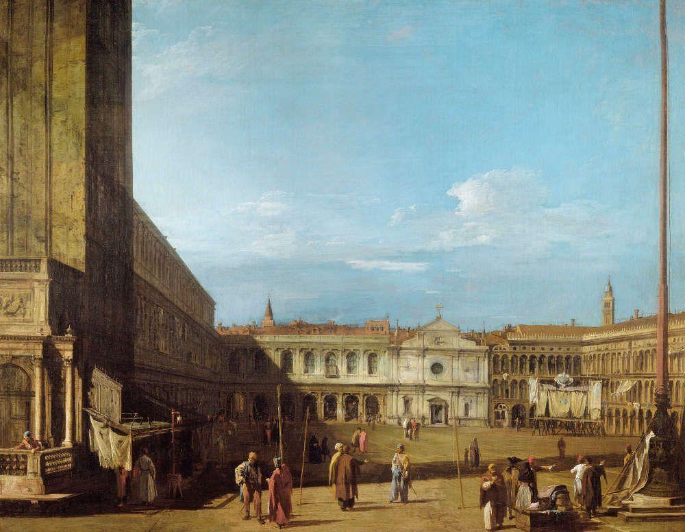 Canaletto, Piazza San Marco nach Westen, in Richtung San Geminiano, um 1723/24, aus einer Serie von sechs Ansichten von Venedig (Royal Collection Trust/© Her Majesty Queen Elizabeth II 2017)