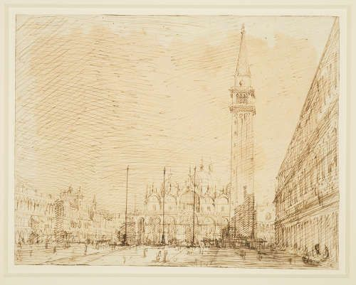 Canaletto, San Marco und die Piazza nach Osten, um 1723/24, Bleistift, Feder, Tinte, 18 x 23,1 cm (Royal Collection Trust/© Her Majesty Queen Elizabeth II 2017)